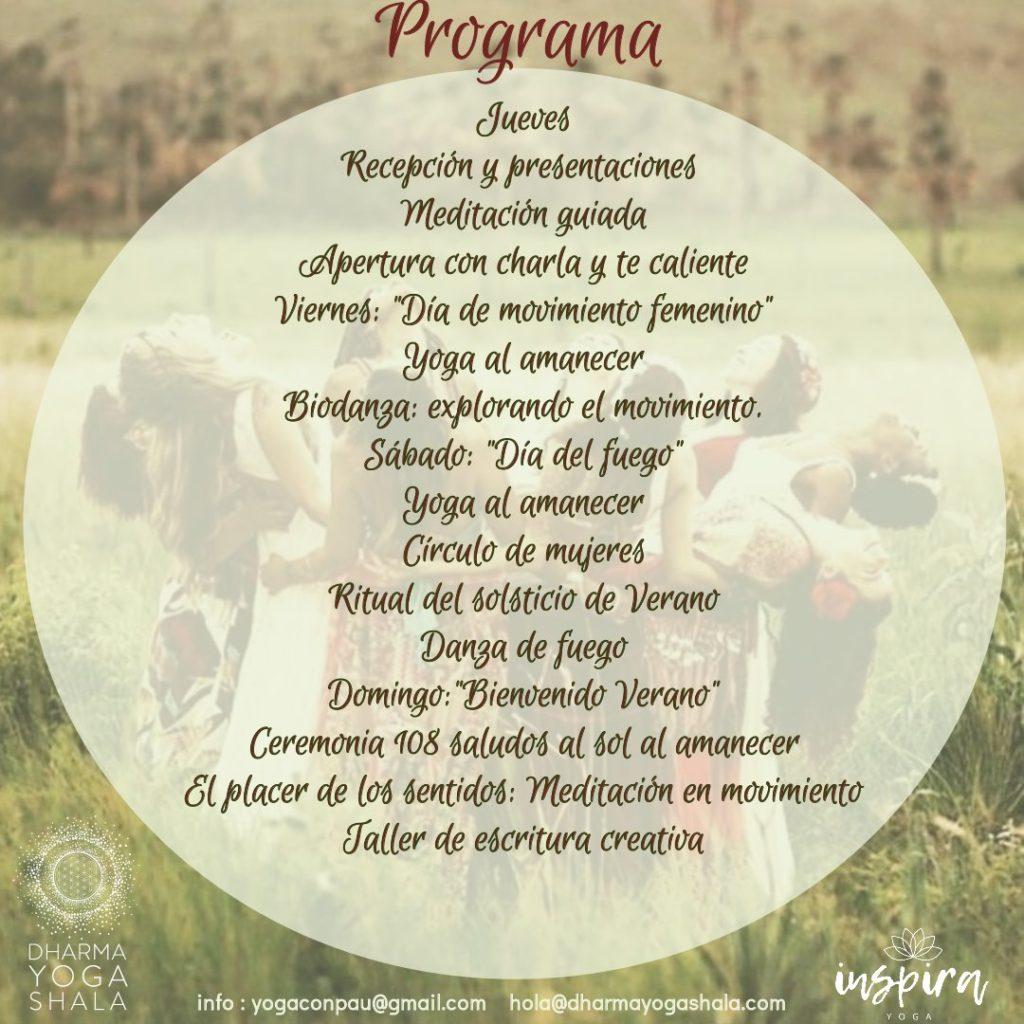 INSPIRAYOGA RETIRO JUNIO 2019 PROGRAMA